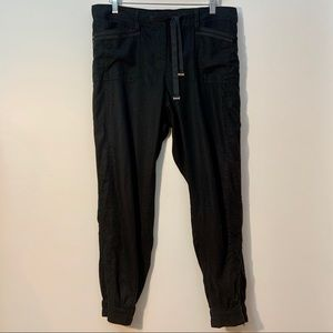 WHBM Linen Rayon Black Banded Bottom Pants Size 8